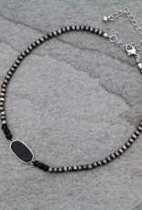 NECKLACE NAVAJO BEADED BLACK STONE CHOKER