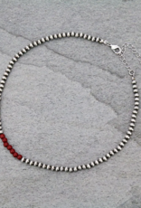 NECKLACE 4MM NAVAJO STYLE RED CHOKER