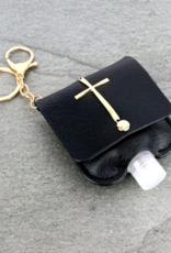 HOLDER KEY CHAIN BLACK CROSS HAND SANITIZER WITH EMPTY REFILLABLE BOTTLE