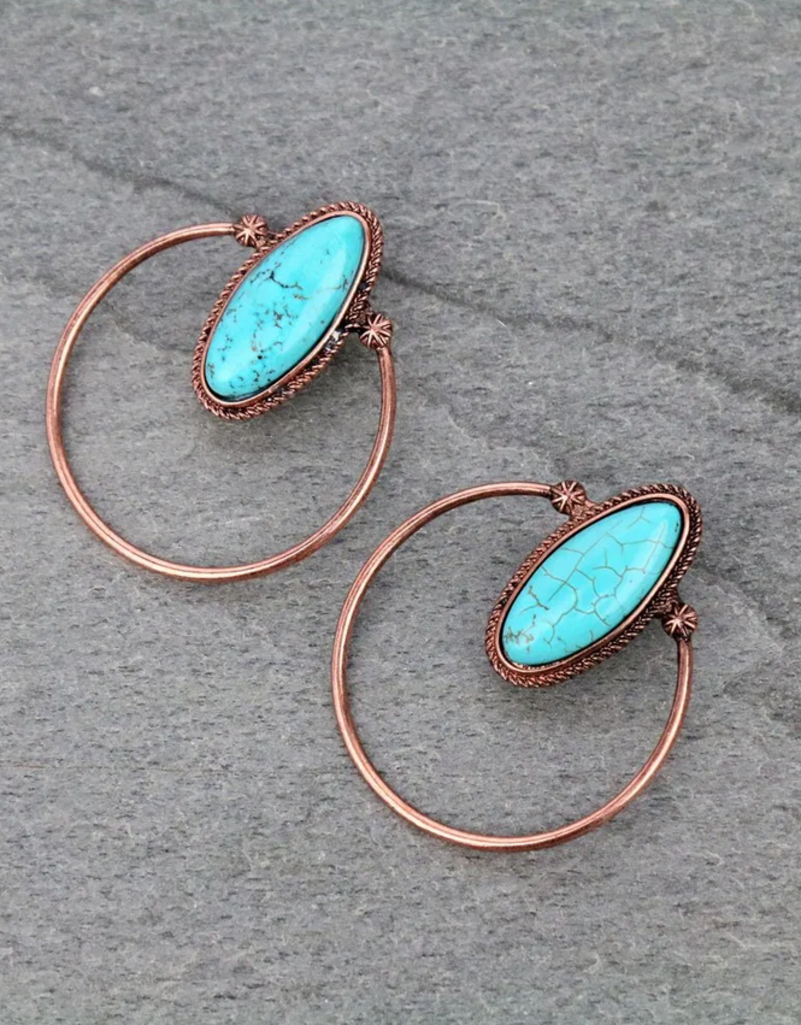 EARRINGS STONE WITH COPPER/TURQ CIRCLE