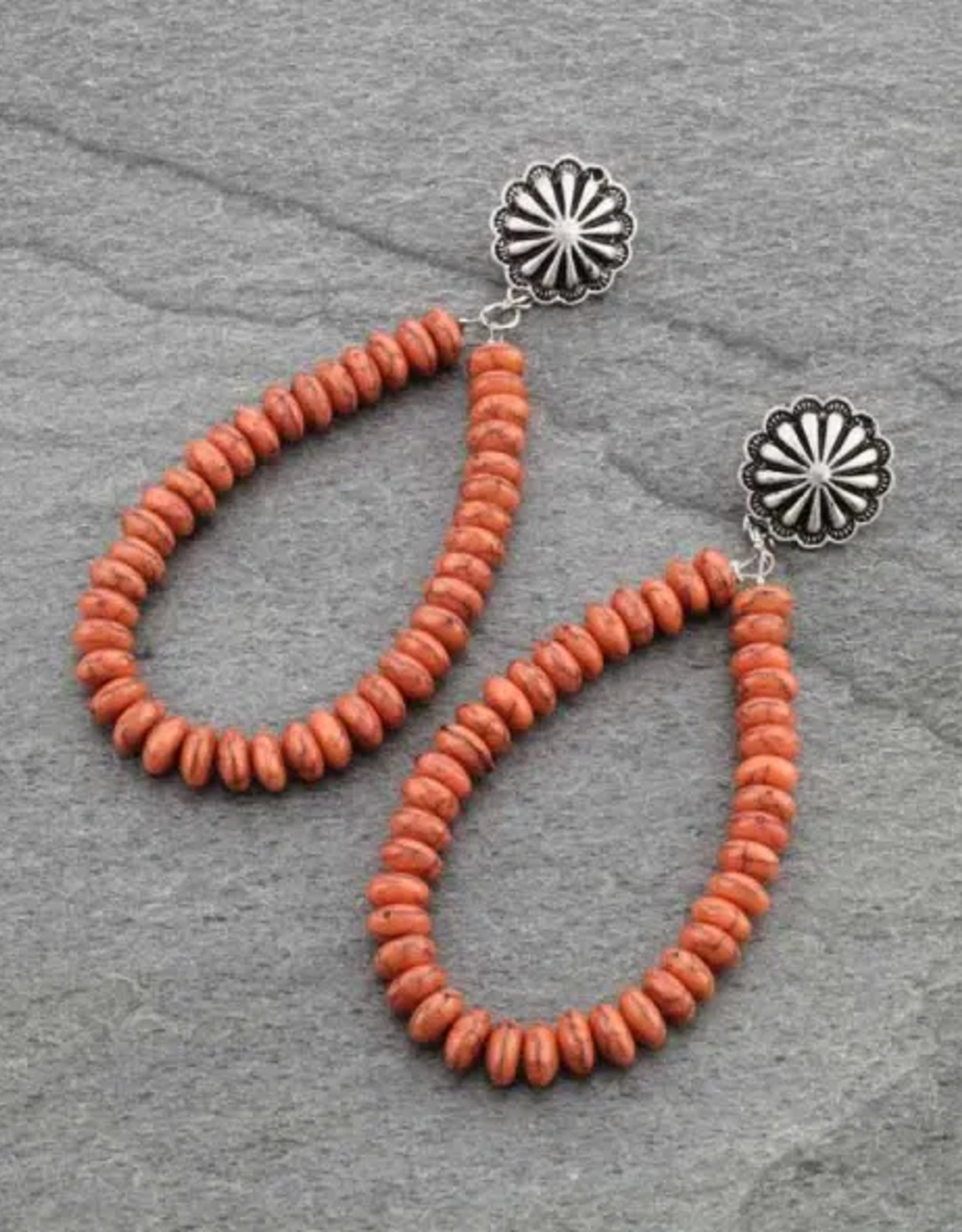 EARRINGS CORAL COLOR BEAD POST