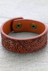 BRACELET THICK LEATHER TOOLED