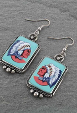 EARRINGS INDIAN PORTRAIT FISH HOOK