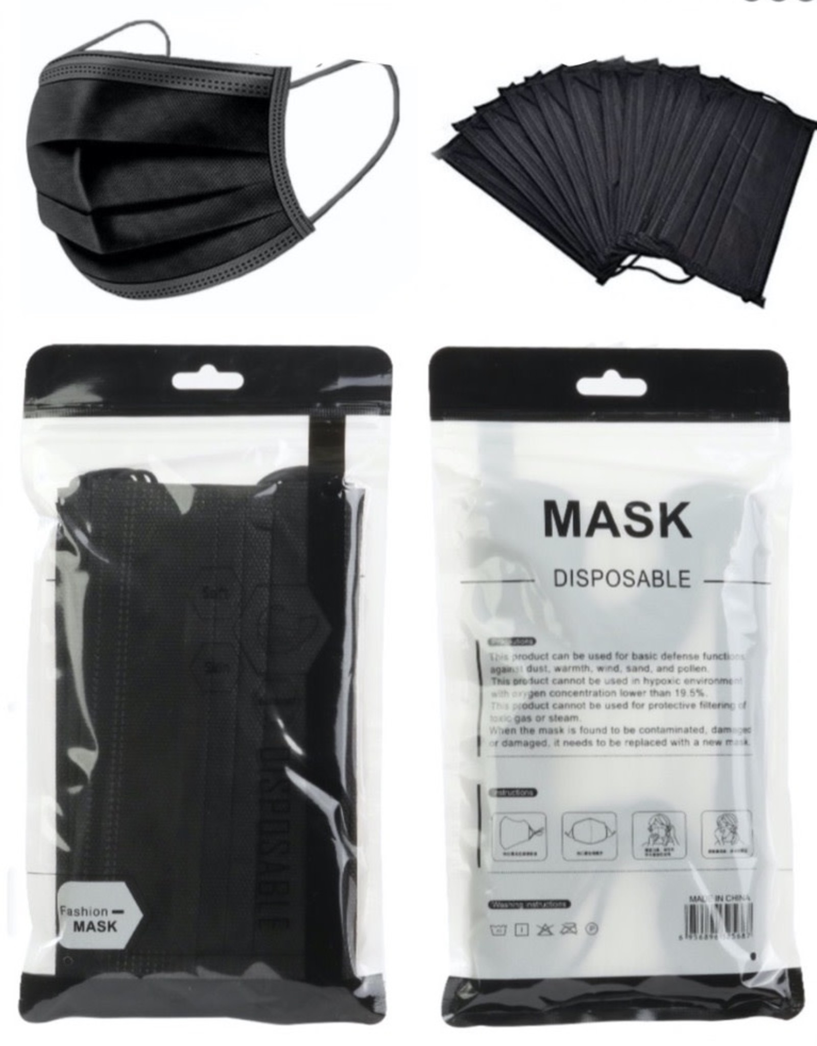 FACE MASK 50 PACK DISPOSABLE BLACK