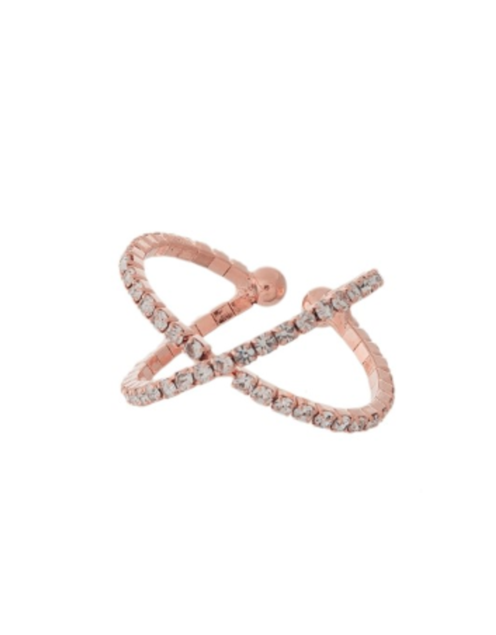 RING ROSEGOLD RHINSTONE CRISS-CROSS