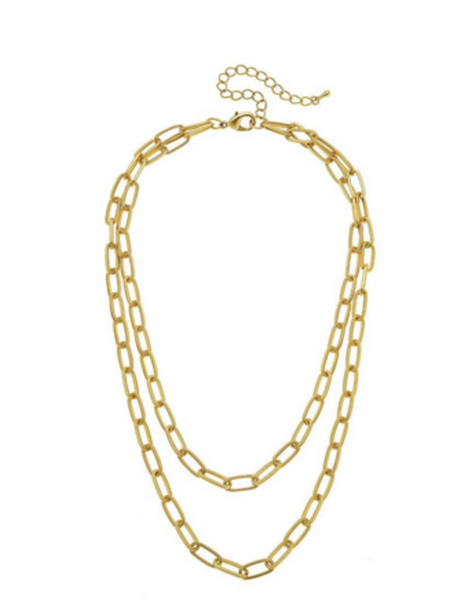 NECKLACE OVAL CHAIN LINK LAYERED MATTE GOLD