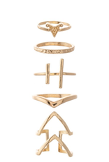 RINGS BOHO GOLD STACKING KNUCKLE SET