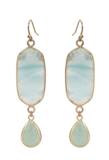EARRINGS NATURAL STONE DROP TURQ WITH GOLD