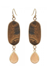 EARRINGS NATURAL STONE DROP BROWN WITH GOLD
