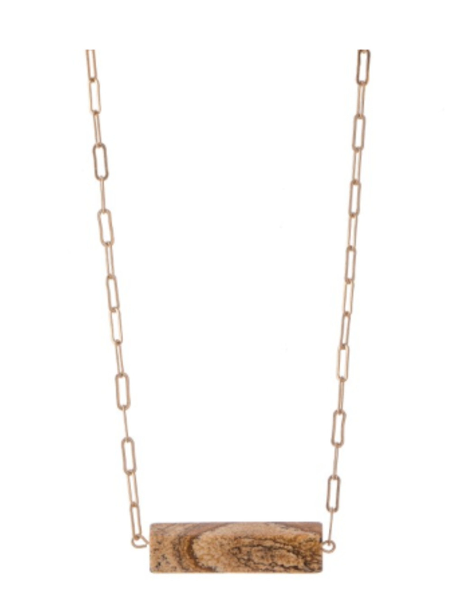 NECKLACE HERA LINK NATURAL BROWN/GOLD STONE BAR
