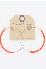 EARRINGS HALF ORANGE CRYSTAL BEAD