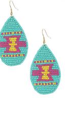 EARRINGS BEADED AZTECH TURQ/YELLOW/PINK
