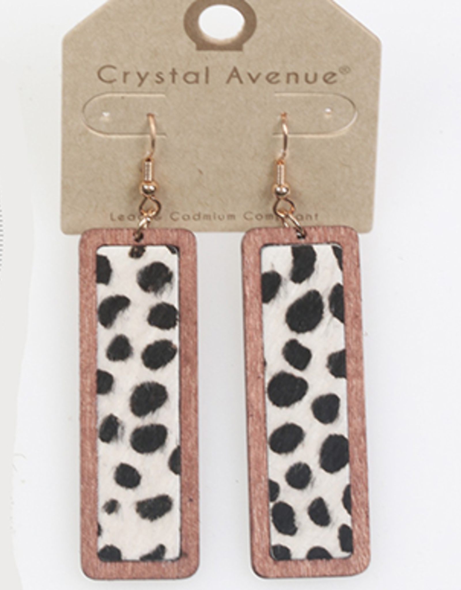 EARRINGS RECTANGLE COW PRINT WOODEN