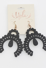 EARRINGS BLACK WOODEN LASER CUT
