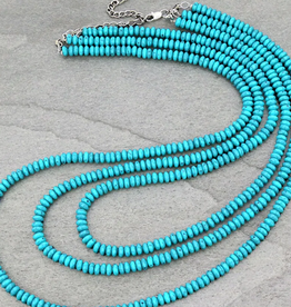 NECKLACE 3 STRAND BEADED TURQ