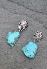 EARRINGS INDIAN STYLE COIN TURQ STONE POST