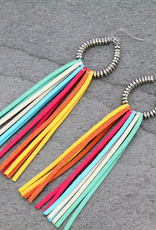 EARRINGS METAL TASSEL MULTI-COLOR DANGLE