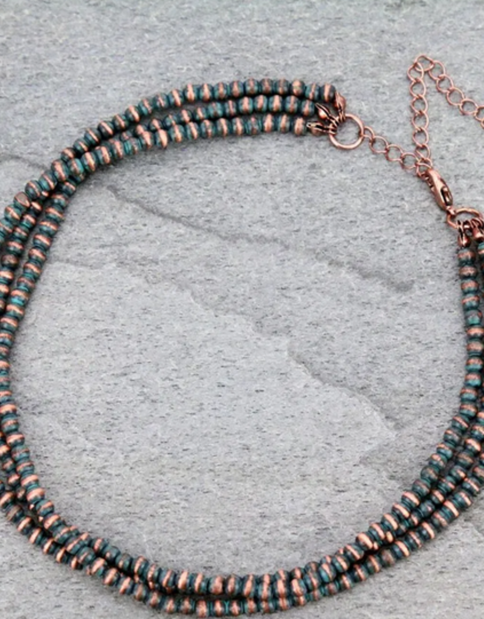NECKLACE 4MM NAVAJO PEARL LAYERED CHOKER COPPER/TURQ