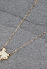 NECKLACE TEXAS MAP DRUZY GOLD STONE