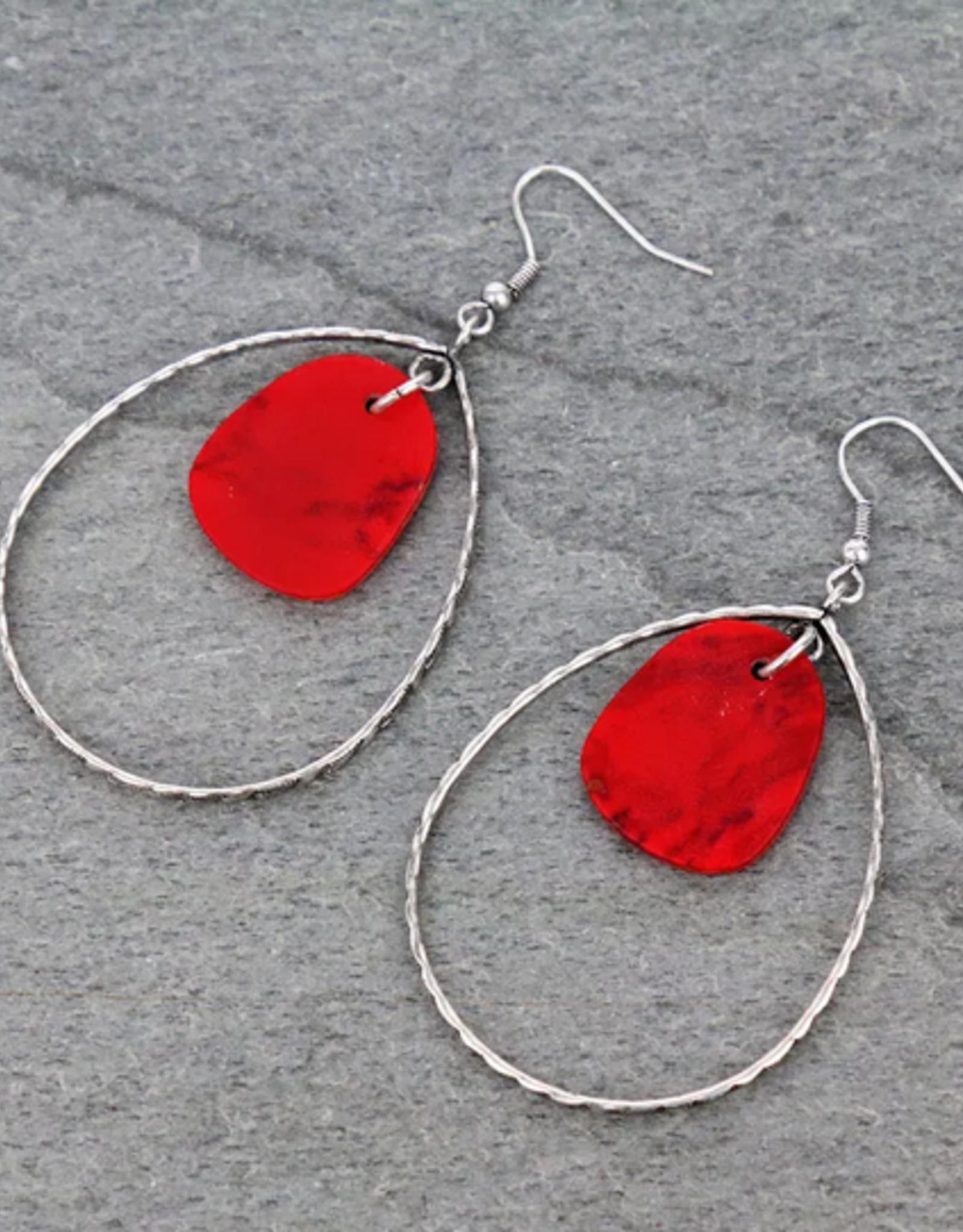EARRINGS TEARDROP WITH RED STONE DANGLE