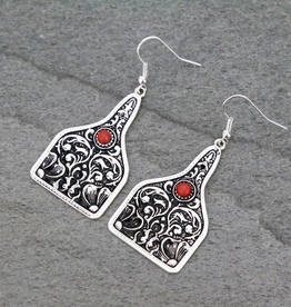 EARRINGS PATTERNED COW TAG WITH RED STONE