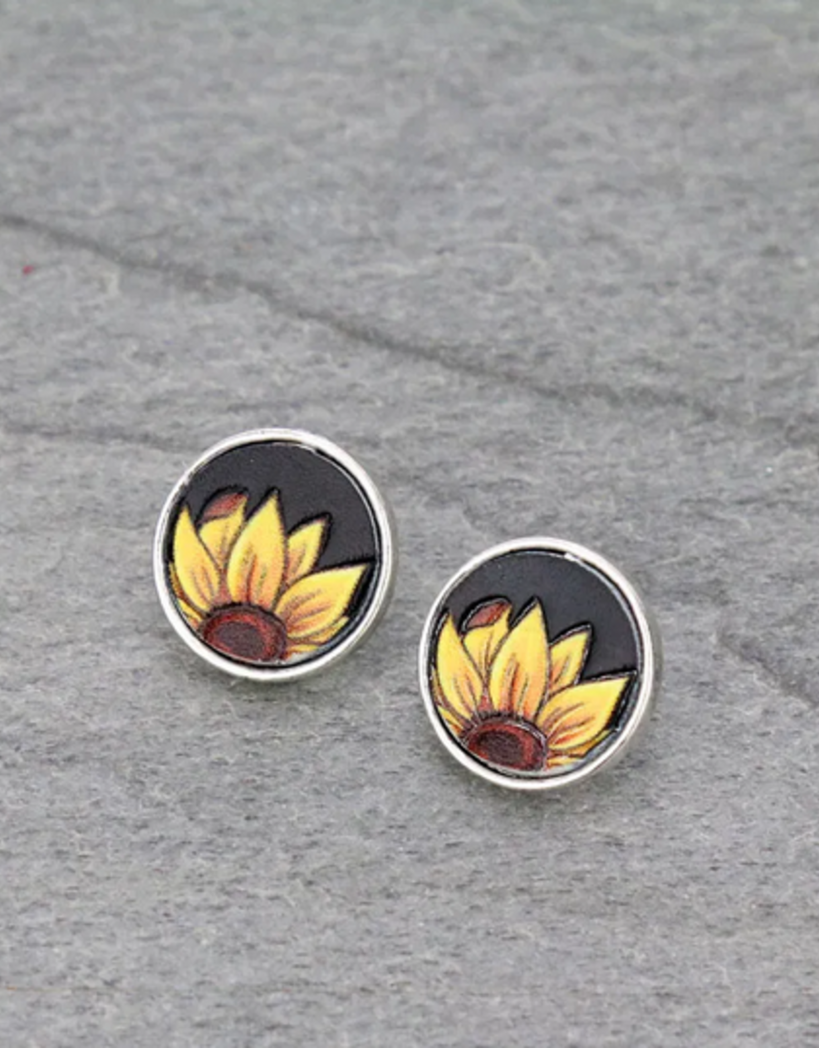 EARRINGS SUNFLOWER/BLACK LEATHER STUD