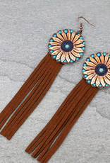 EARRINGS GENUINE LEATHER SUNFLOWER BROWN TASSEL DANGLE