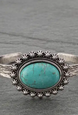 BRACELET SILVER CUFF WITH NATURAL TURQ STONE