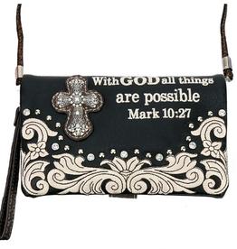 "PURSE CROSSBODY BAG BIBLE VERSE ""MARK 10:27"""