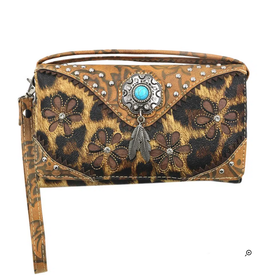 CROSSBODY BAG/WALLET LEOPARD WESTERN TURQ ACCENT FAUX LEATHER