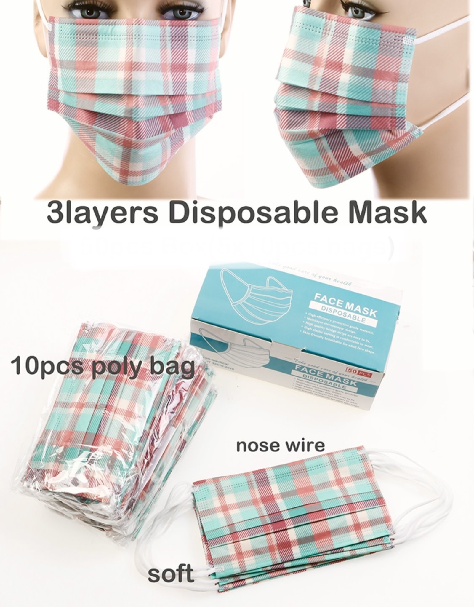 FACE MASK 10 PACK 3-LAYER DISPOSABLE PLAID