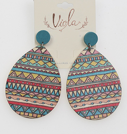 EARRINGS WOODEN TEARDROP AZTEC PATTERN DANGLE