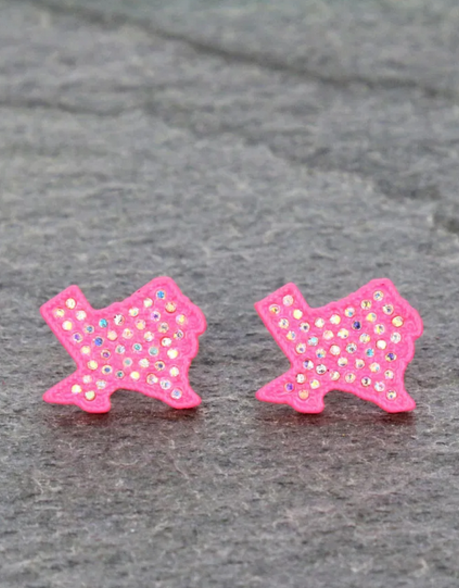 EARRINGS TEXAS MAP PINK STONE STUD