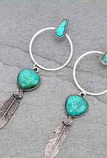 EARRINGS BIG BOHO NATURAL TURQ STONE FEATHER HOOP POST