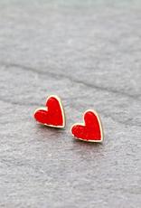 EARRINGS RED HEART DRUZY STONE STUD