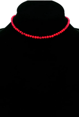 NECKLACE 4MM RED STONE CHOKER