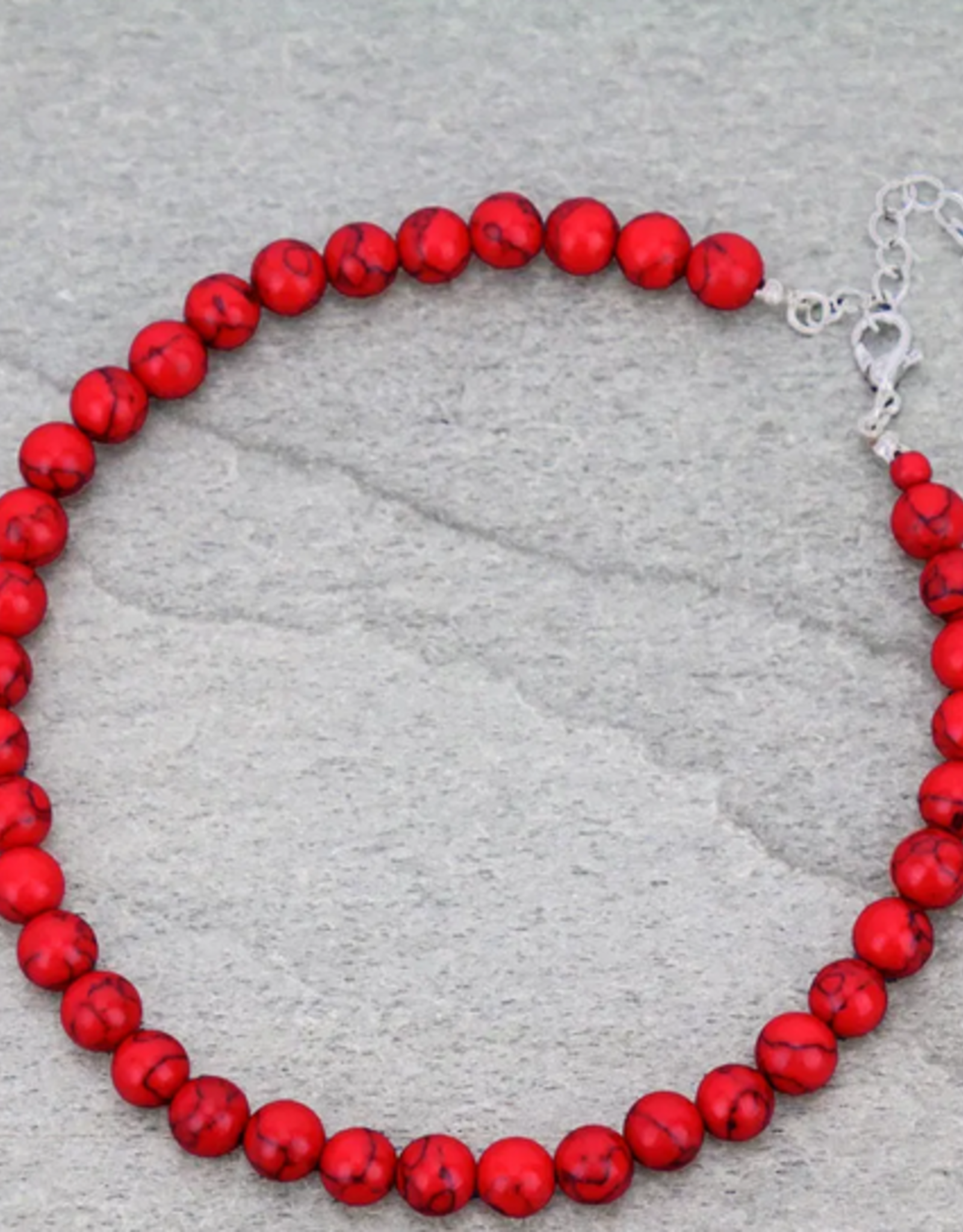NECKLACE 8MM RED STONE CHOKER