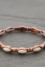 BRACELET COPPER WESTERN  WITH NATURAL WHITE STONE STRETCH
