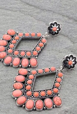 EARRINGS NATURAL CORAL STONE CHANDELIER POST