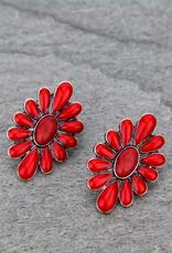 EARRINGS CONCHO FLOWER RED STONE STUD