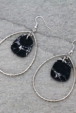 EARRINGS TEARDROP WITH BLACK MARBLE STONE DANGLE