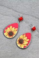 EARRING TEARDROP LEATHER FLOWER RED