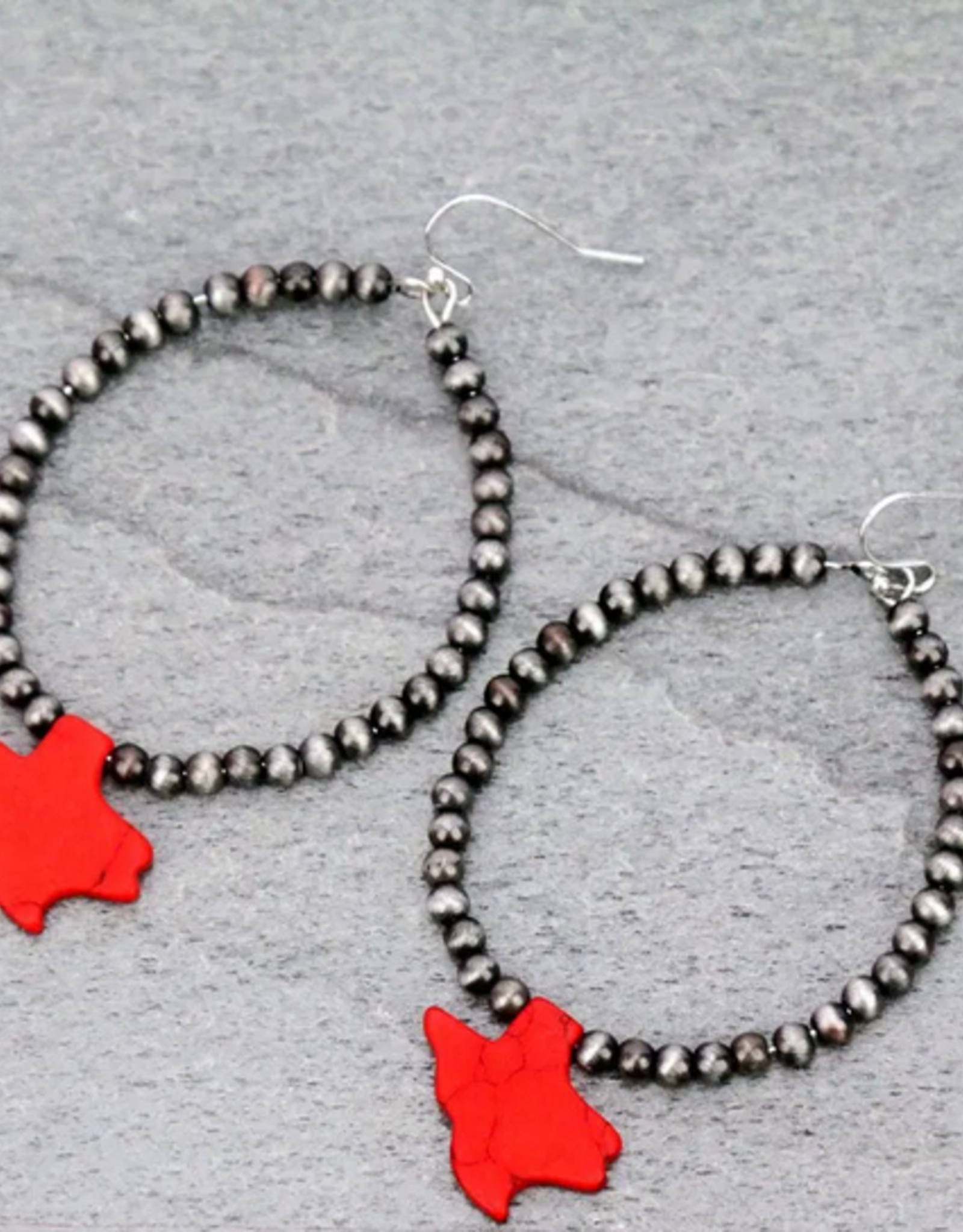 EARRINGS TEXAS MAP RED STONE WITH PEARL DANGLE