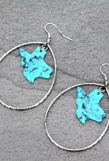 EARRINGS TEXAS MAP TURQ STONE TEARDROP DANGLE
