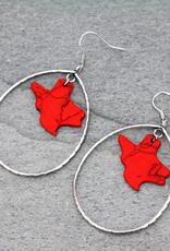 EARRINGS TEXAS MAP RED STONE TEARDROP DANGLE