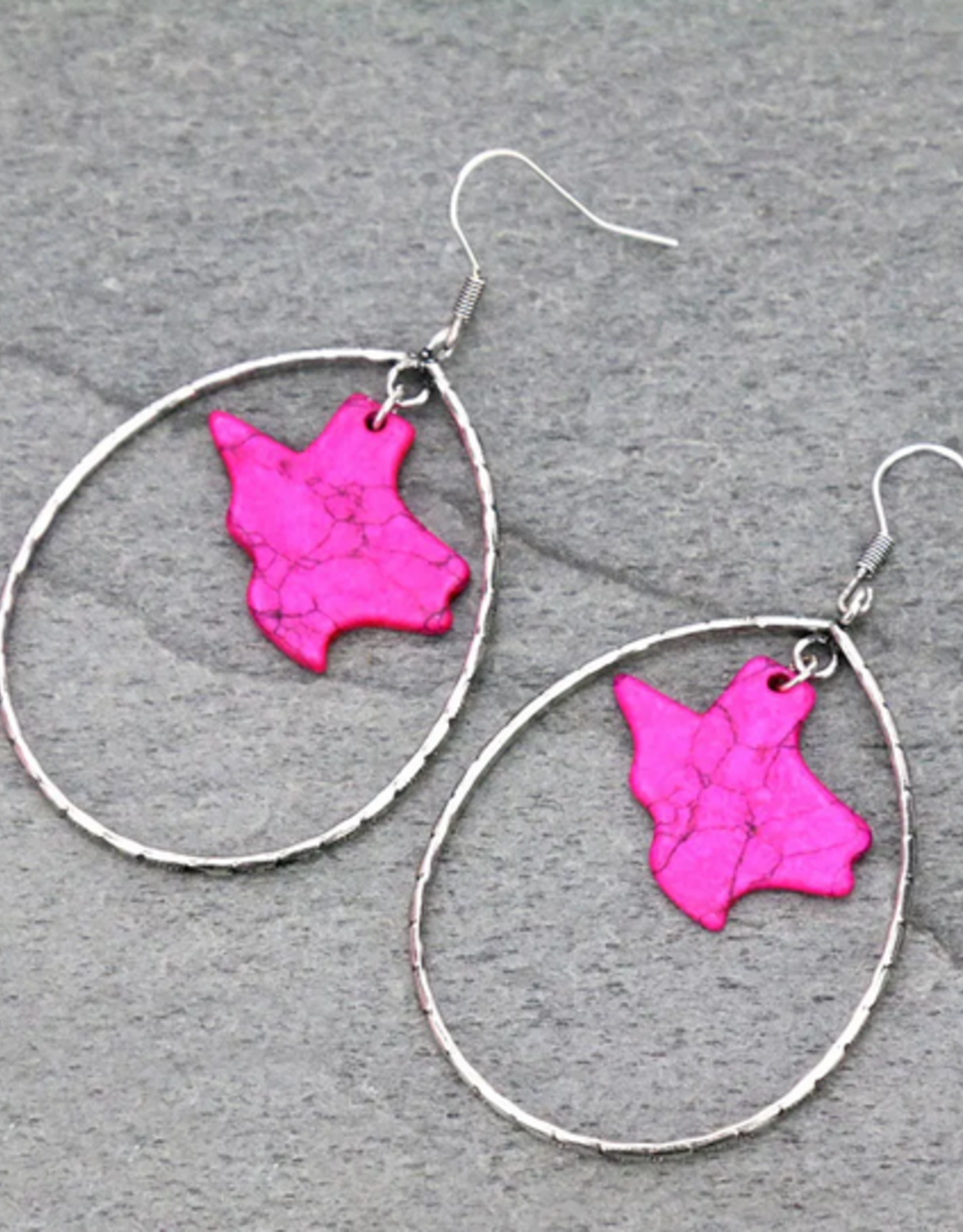 EARRINGS TEXAS MAP PINK STONE TEARDROP DANGLE