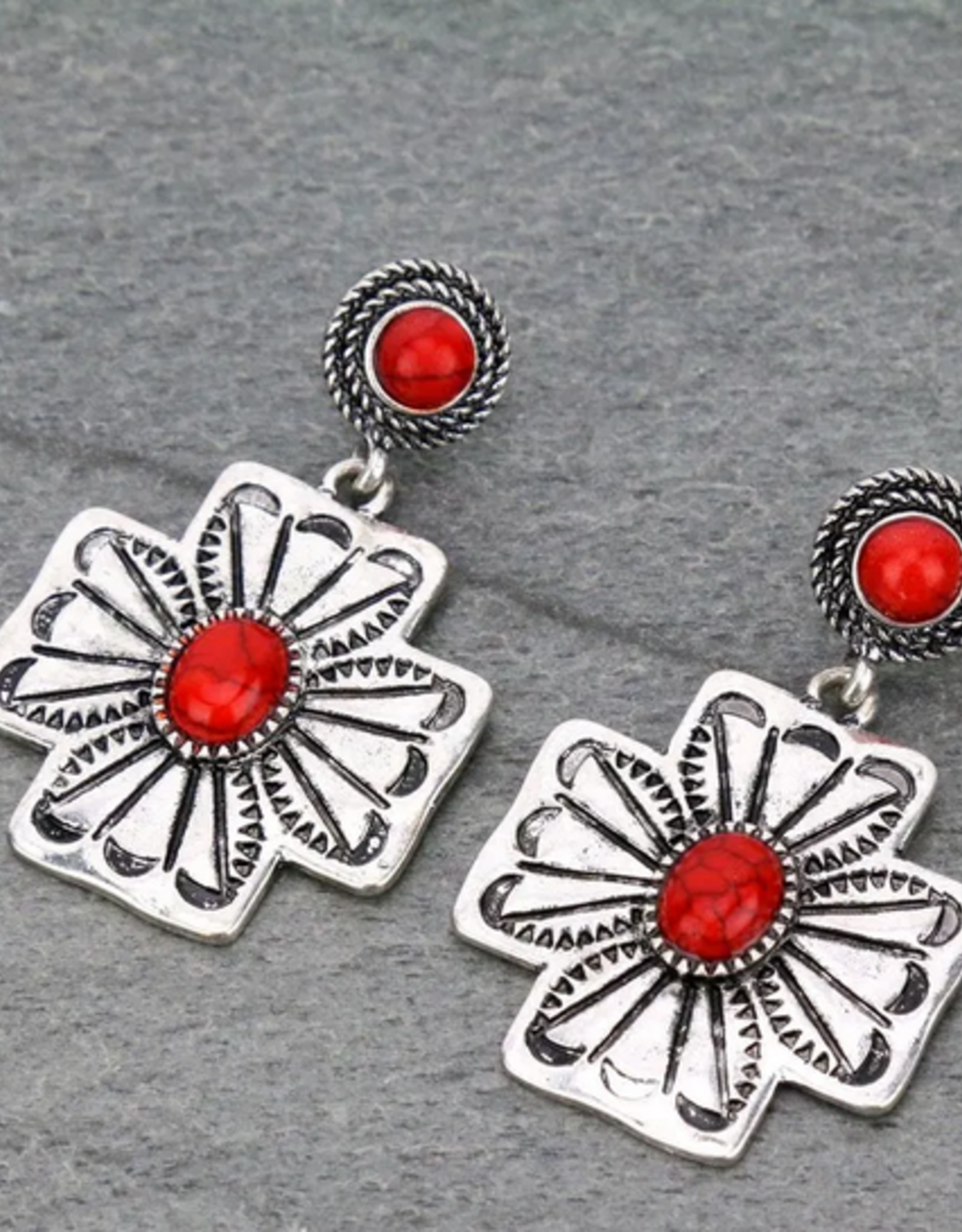 EARRINGS WESTERN CROSS WITH RED STONE STUD