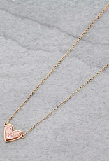 NECKLACE ROSE GOLD HEART DRUZY STONE