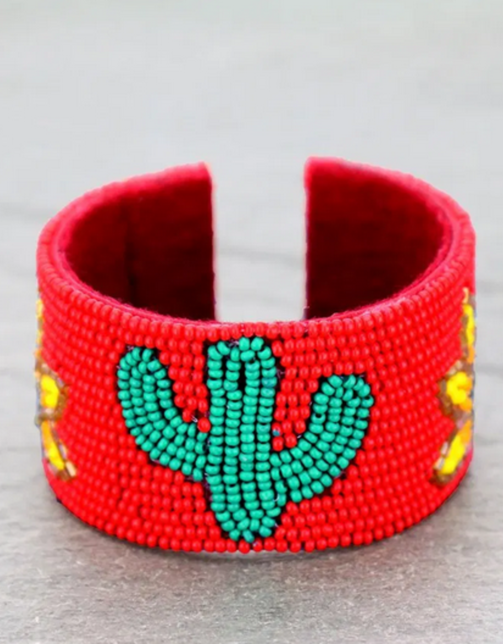 BRACELET CACTUS AND SUNFLOWER SEED BEAD CUFF
