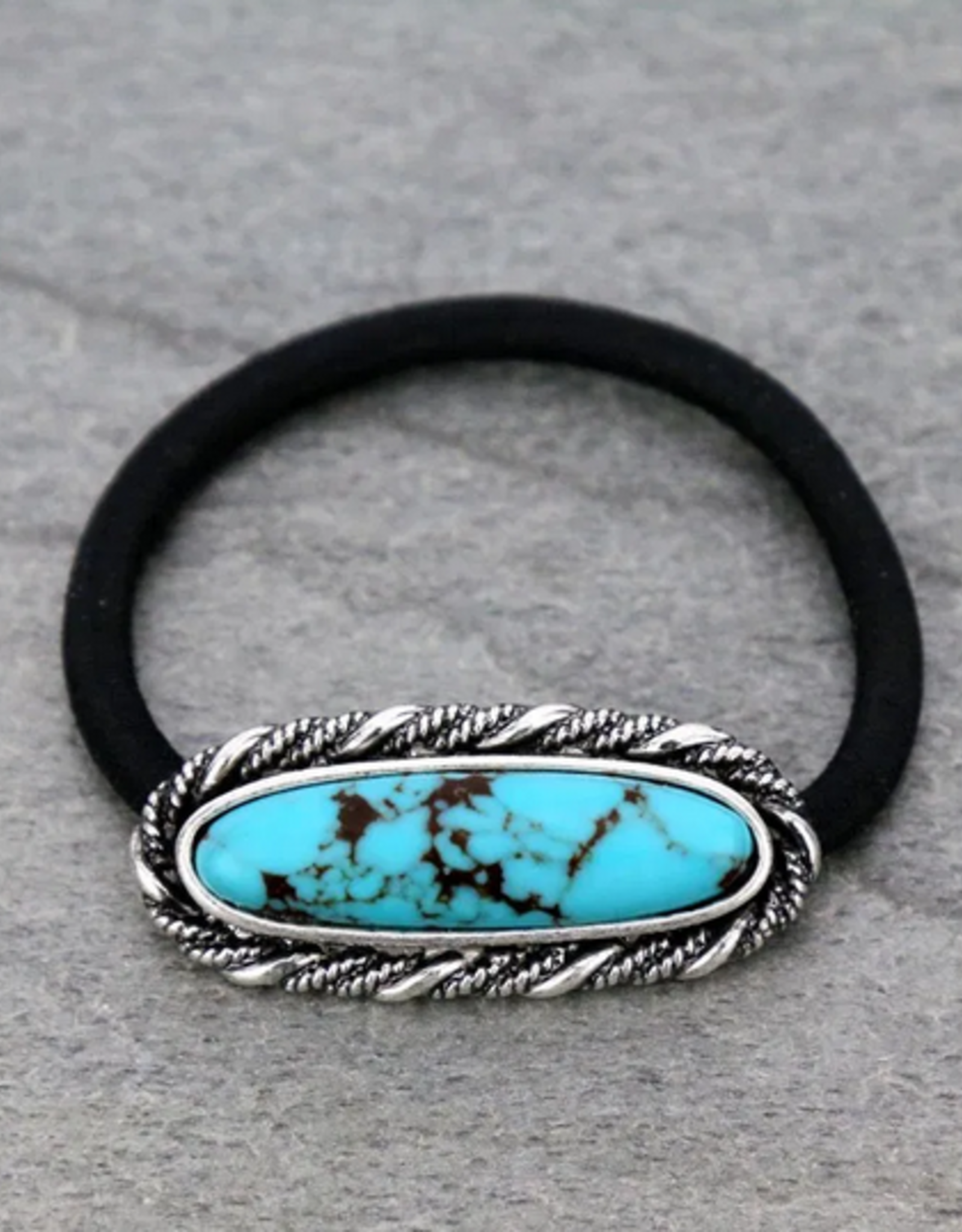 HAIR TIE WESTERN STYLE TURQ STONE
